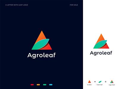 Agroleaf (unused A letter logo mark) farmer farm agriculture agro nature green vector flat minimal modern logotype logo design logo illustration icon design colorful