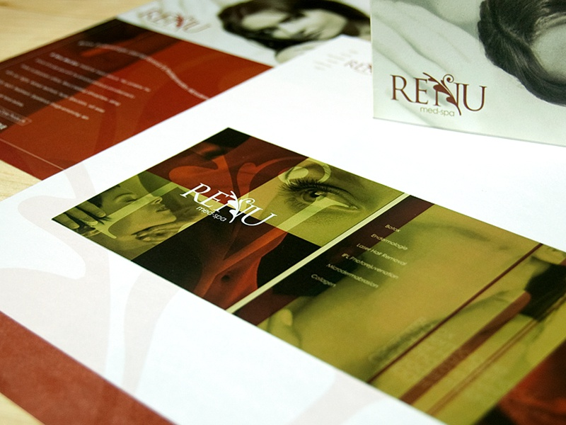 Renu Med Spa medical spa identity collateral brouchure beauty
