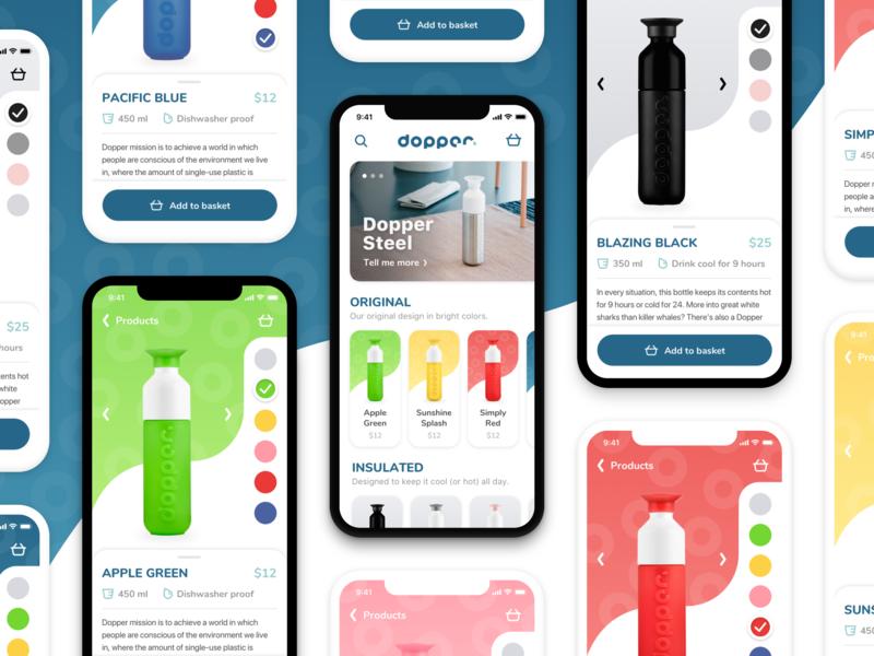 Dopper - Mobile webshop first shot firstshot visual design dutch mobile app watercolor colours cards webshop ecommerce waterbottle dopper