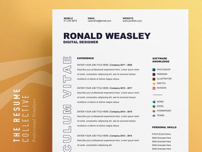CV Template   Easily Editable   Word Format   Download professional cv elegant cv download editable resume resume clean professional resume minimalist resume modern resume modern cv curriculum vitae cv