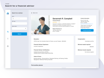 Daily UI #006 User Profile (a financial advisor)