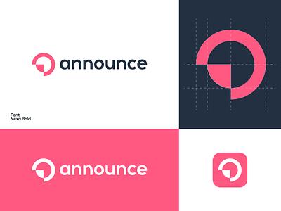 announce branding and identity branding brand logo design graphic design modern minimal logo concept logo mark symbol icon announce logo mark announcements brand design top logo branding design