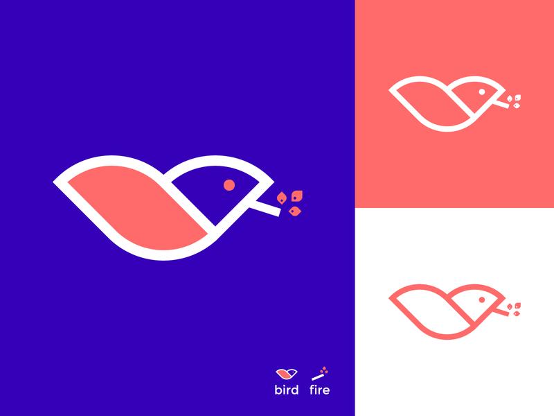 birdfire logo design graphic design brand identity logo inspiration logo concept fire bird logo