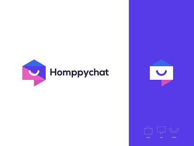homppychat logo brand graphic design logo design minimal modern home happy logo chat icon home icon logo inspiration branding chat logo happy home logo
