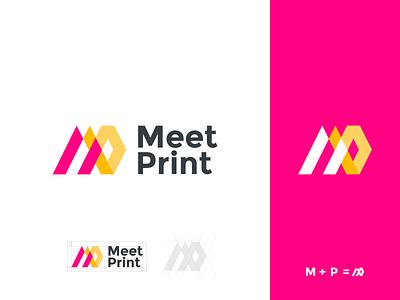 meetprint brand identity logo mp logo lettermark logo mark letter branding brand graphic design logo design minimal modern