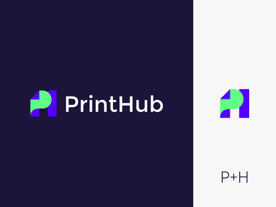 PrintHub logo identity illustration icon brand identity branding brand graphic design logo design minimal modern