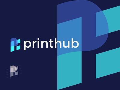 printhub (Final Mark) illustration bold branding brand identity brand graphic design logo design minimal modern printing business card