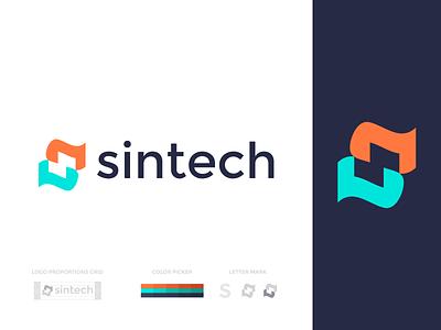 sintech bold identity modern brand identity logo design minimal illustration vector design branding sintech