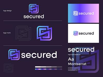 secured logo  branding gradient design brand motion graphics graphic design logo branding secured logo logo design minimal modern