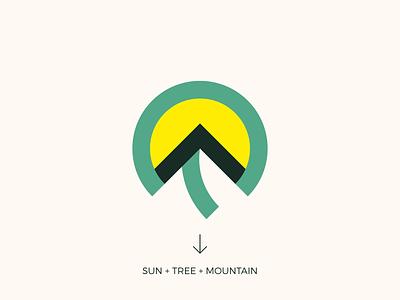 Sun Tree Mountain Logo mountain tree sun design logo brand branding graphic design logo design minimal modern