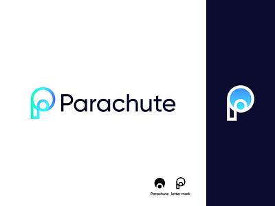 Parachute Logo Design p logo parachute ui illustration design logo branding brand graphic design logo design minimal modern