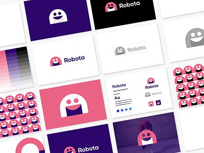 Robota logo design guidelines app identity logo mark vector icon typography bold brand identity logo branding 3d robota illustration design logo branding brand graphic design logo design minimal modern