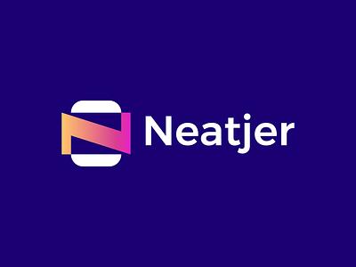 Neatjer Logo neatjer n mark ui illustration design logo brand branding graphic design modern logo design minimal