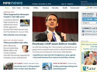 MPR News Concept (2010) news homepage