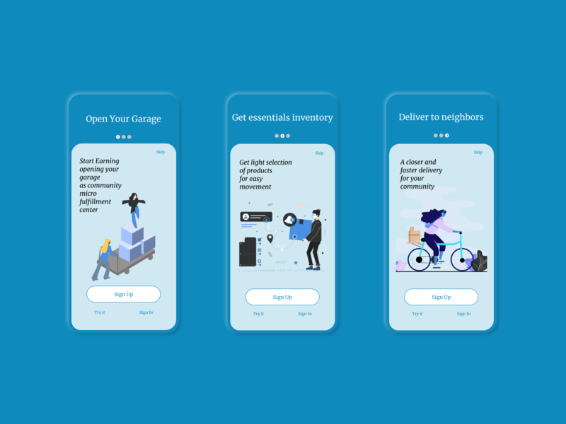 Daily UI 23 Onboarding Micro community fulfillment centers