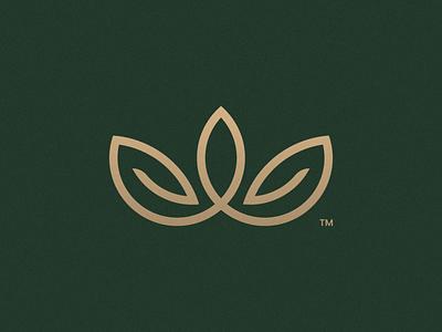 Unused Crown+Leaf Concept green gold leaf logo mark crown brand identity illustration symbol icon minimal brand logodesign branding design logo