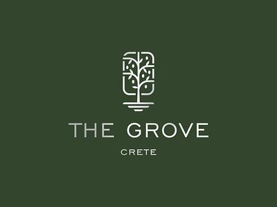 The Grove olive tree olive apartment hotel crete grove logo design brand identity symbol icon brand minimal logodesign design branding logo