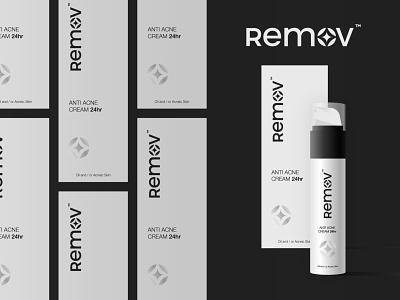 Remov Logo and Package Design print vector typography logo design beauty cream skincare acne symbol icon brand minimal logodesign design branding logo