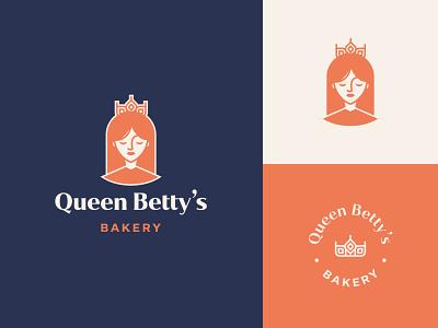 Queen Betty's Bakery queen crown patisserie bakery wheat woman portrait woman logo design brand identity symbol icon brand minimal logodesign design branding logo
