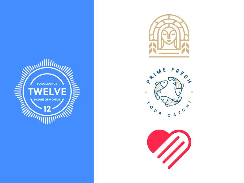 LogoLounge Book 12 branding design linework minimal logo mark fish heart goddess branding