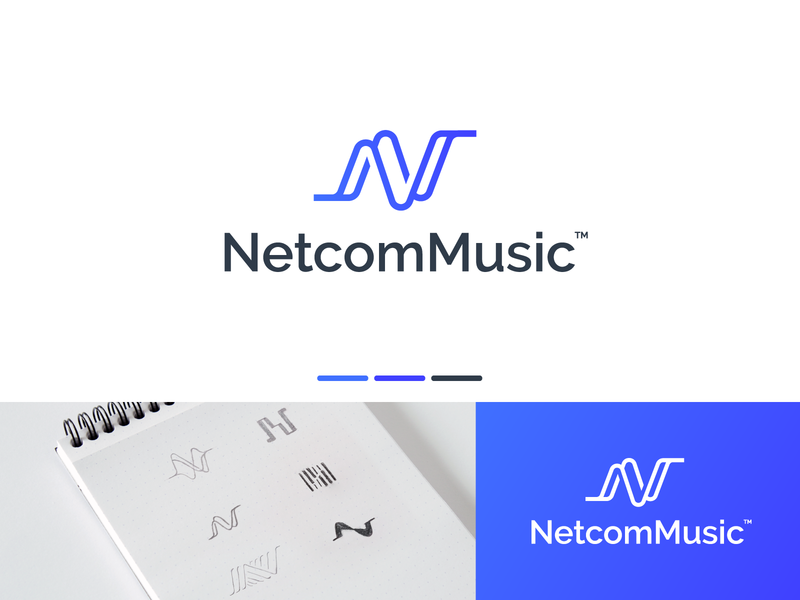 Netcom Music Logo Design songwriter musician song music player music logo design brand identity symbol icon brand minimal logodesign design branding logo