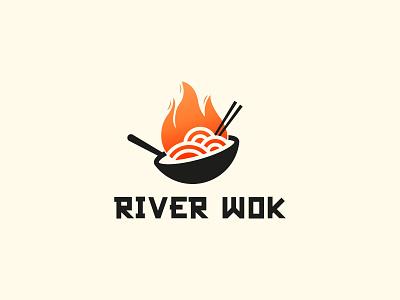 River Wok Logo Design wok noodle fire asian food asian logo design brand identity symbol icon brand minimal logodesign design branding logo