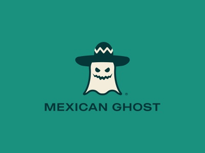 Mexican Ghost Logo Design food mexican hat mexican food mexican ghost logo design brand identity symbol icon brand minimal logodesign design branding logo