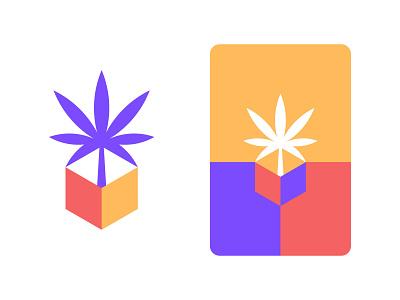Cannabis & Box Logo Mark cannabis logo colorful box cannabis illustration brand identity symbol icon brand minimal logodesign design branding logo