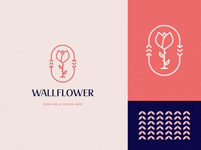 Wallflower Logo Design wineglass rose flower wine logo design brand identity symbol icon brand minimal logodesign design branding logo