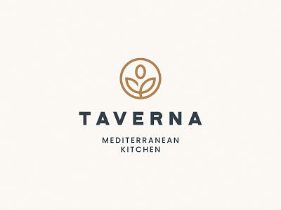Taverna Logo Design mediterranean restaurant kitchen olive food logo design brand identity symbol icon brand minimal logodesign design branding logo