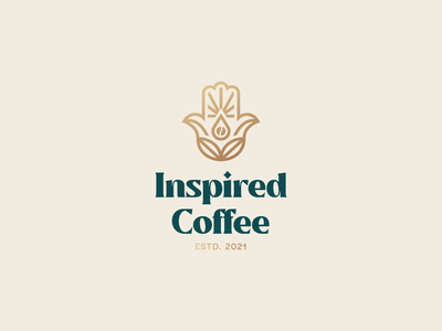 Inspired Coffee Logo Design coffee shop mystic coffee leaf coffee bean coffee hand hamsa logo design brand identity symbol icon brand minimal logodesign design branding logo