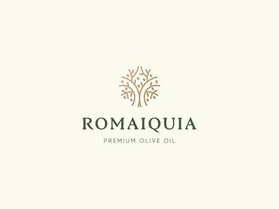 Romaiquia Logo Design natural gold luxury oil olive tree olives olive oil olive logo design brand identity symbol icon brand minimal logodesign design branding logo