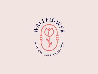 Wallflower Logo Design bloom flower wine glass wine logo design brand identity symbol icon brand minimal logodesign design branding logo