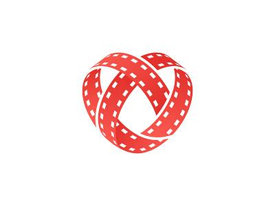 Cinema & Heart Logo Mark film roll hearth brand minimal logodesign design branding logo