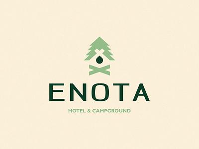Enota Hotel & Campground Logo Design nature green fire camp fire forest campground hotel camp drop pine icon brand minimal logodesign design branding logo