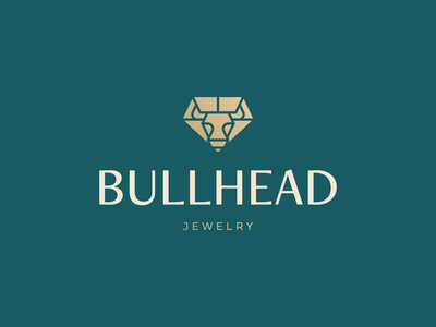 BullHead Logo Design gem jewelery gold diamond bull head bull jewel jewelry icon brand minimal logodesign design branding logo