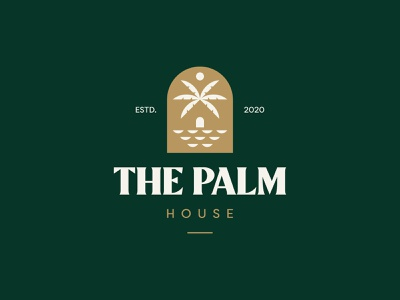 The Palm House Logo Design sun sea the palm house palm icon brand minimal logodesign design branding logo