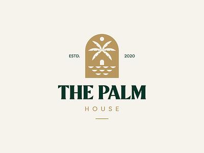 The Palm House Logo Design home house palm tree palm the palm sea sun icon brand minimal logodesign design branding logo