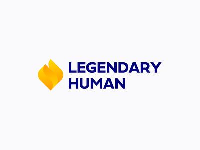 Legendary Human Logo Design gradient orange yellow legendary human torch fire icon brand minimal logodesign design branding logo