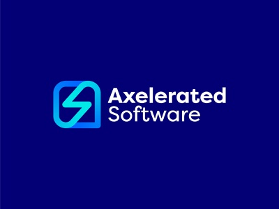 Axelerated Software Logo Design technology tech finance financial fintech software flash s letter s a lightning a letter icon brand minimal logodesign design branding logo