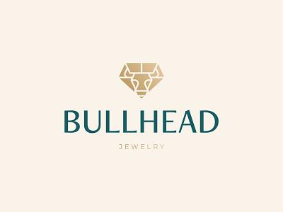 Bullhead Jewelry Logo Design diamond jewelry jewel head ox bull icon brand minimal logodesign design branding logo