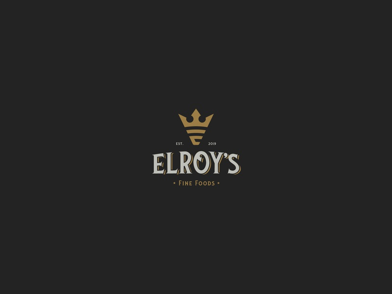 Elroy's Logo Design hipster black gold e logo elroy king crown finefood fine food logo design brand identity typography symbol logodesign icon brand branding design logo