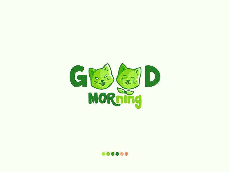 Good Morning goodbad greens morning good morning leaf cat symbol cartoon logodesign brand branding design logo
