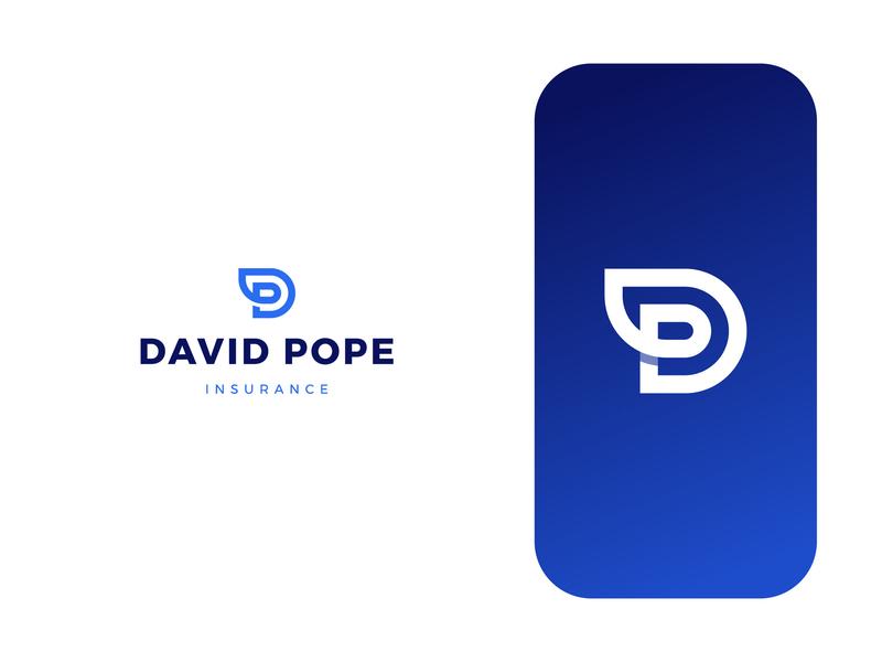 David Pope Insurance insurance blue d p logo dp logo monogram business typography logo design brand identity vector symbol minimal icon logodesign brand branding design logo