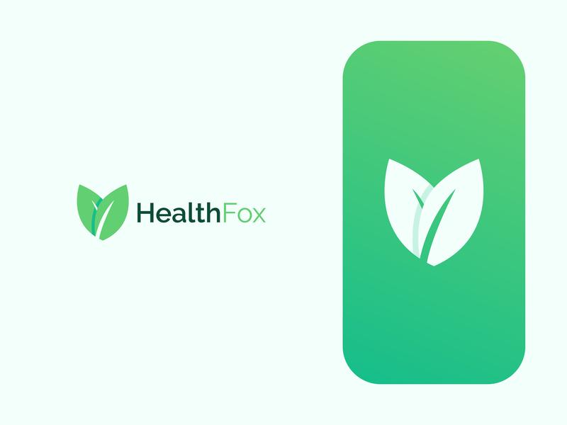 Health Fox drink health tea green leaf fox health logo design brand identity vector symbol minimal icon logodesign brand branding design logo