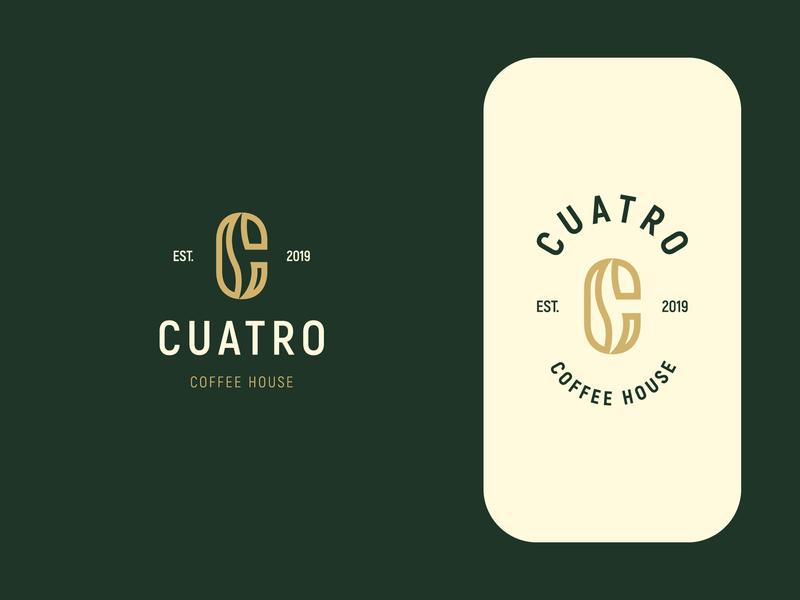 Cuatro Coffee House coffee beans coffee c logo c coffee symbol minimal logodesign brand branding design logo