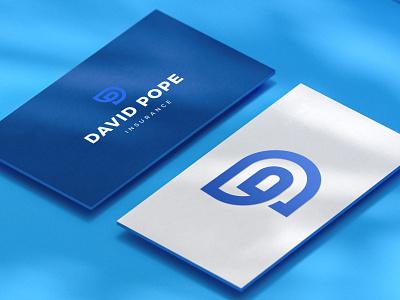 David Pope Logo Design d p logo print blue insurance p letter d letter business minimal logodesign brand branding design logo