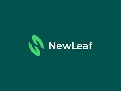 NewLeaf Logo Design hand green leaf new print logo design brand identity symbol icon minimal logodesign brand branding design logo