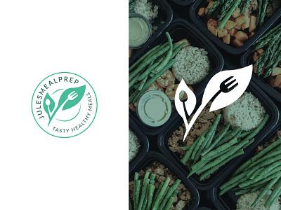 Healthy Meal Prep Logo Design health meal prep food spoon plate fork leaf print logo design brand identity symbol icon minimal logodesign brand branding design logo