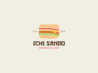 Ichi Sando Logo Design japanese food food japanese japan print burger sandwiches minimal brand logodesign branding design logo